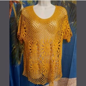 DRESS BARN Pretty YELLOW Open Knit TOP XL
